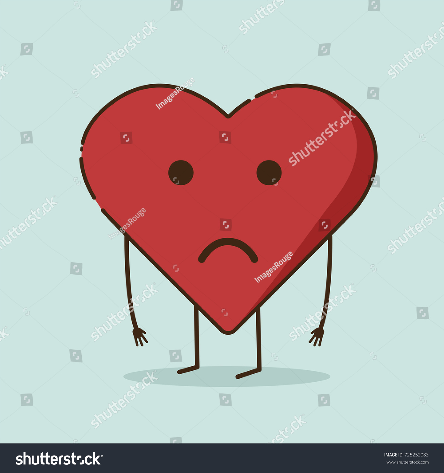 Sad Heart Character Vector Illustration Stock Vector Royalty Free