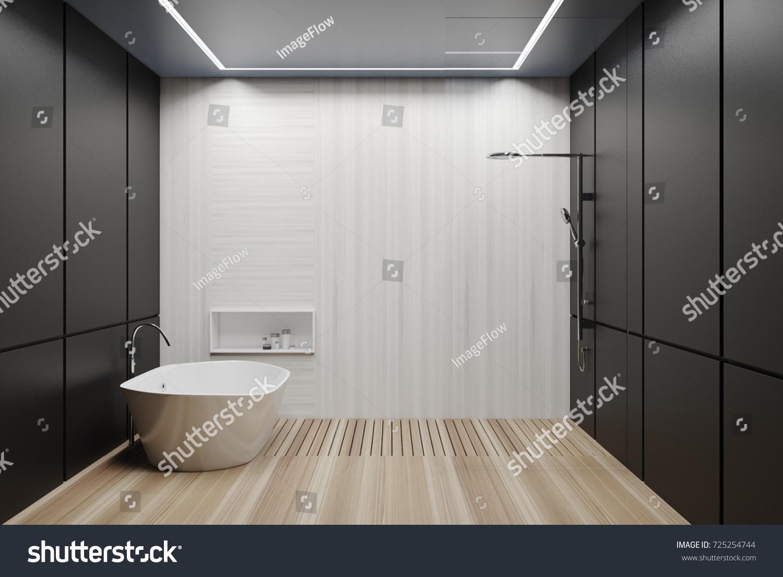 Black Tiled Bathroom Interior Wooden Floor Stock Illustration ...