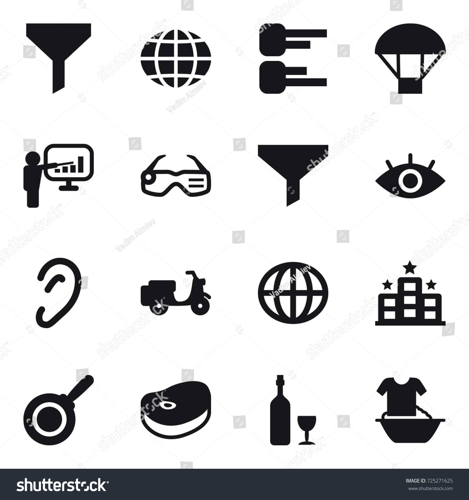 16 Vector Icon Set Funnel Globe Stock Royalty Free Battery Cell Diagram Editable Powerpoint Template Parachute Presentation Smart