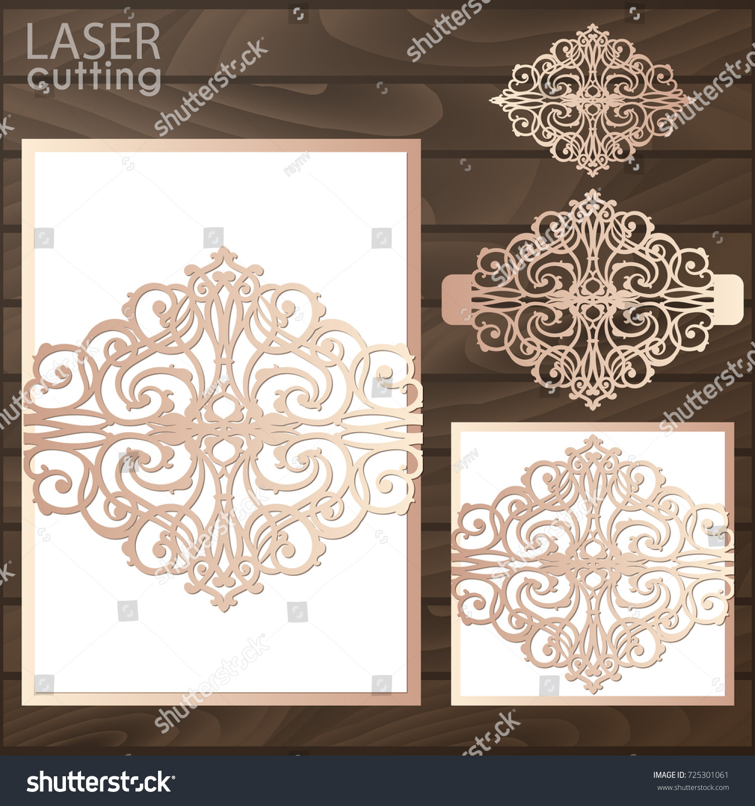 Laser cut wedding invitation card template em vetor stock 725301061 laser cut wedding invitation card template vector wedding invitation or greeting card with abstract ornament stopboris Gallery