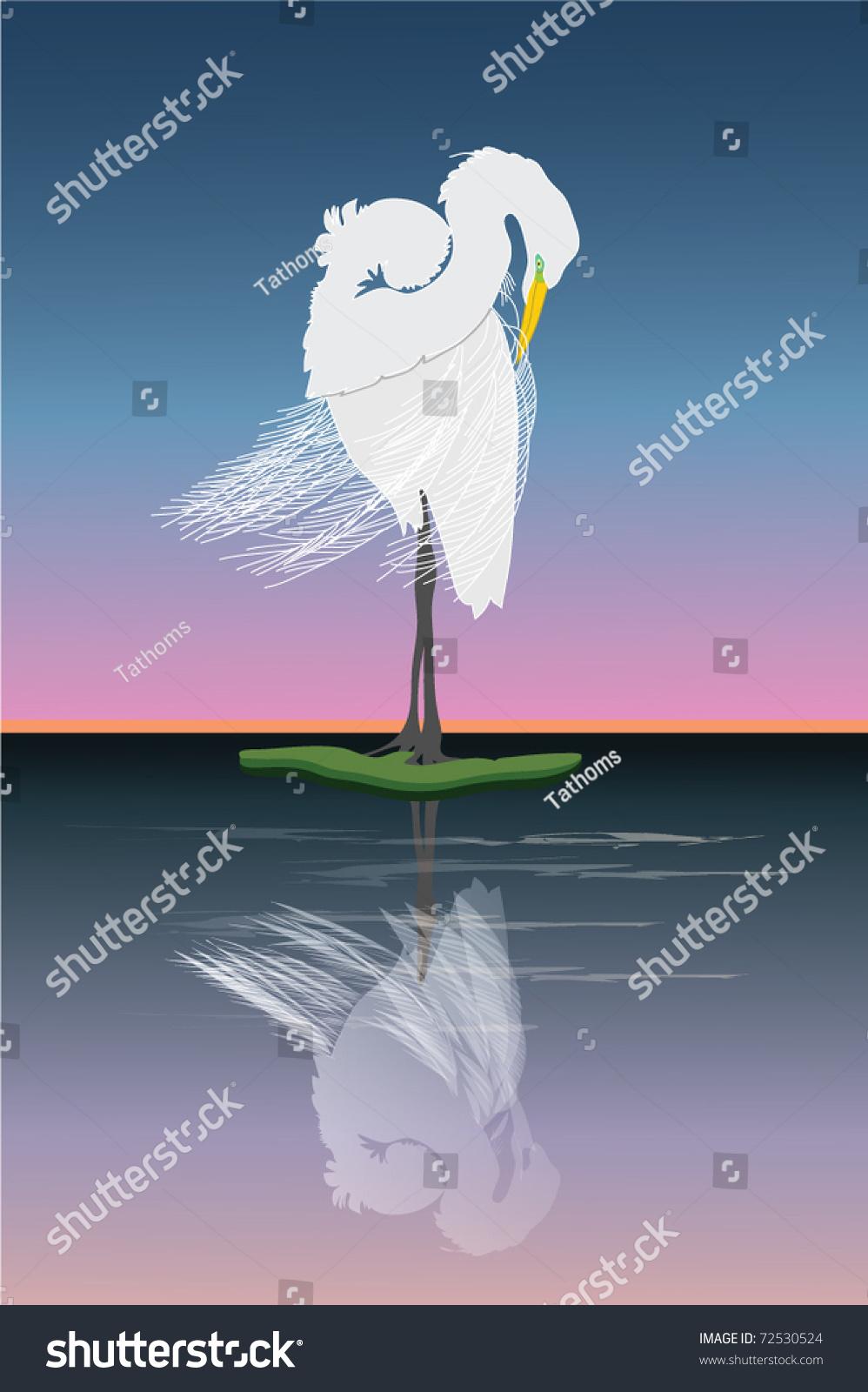 Graceful egret grooming at sunrise. My own design.