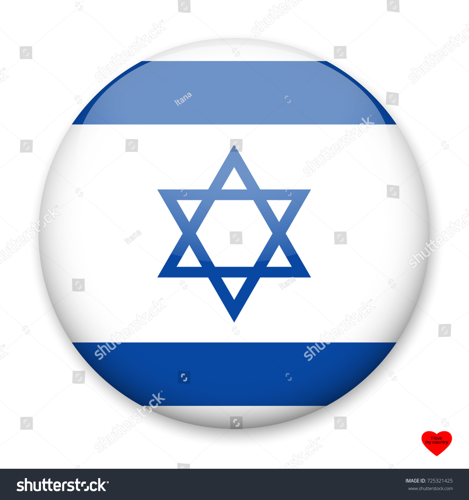 Flag Israel Form Round Button Light Stock Vector (Royalty Free