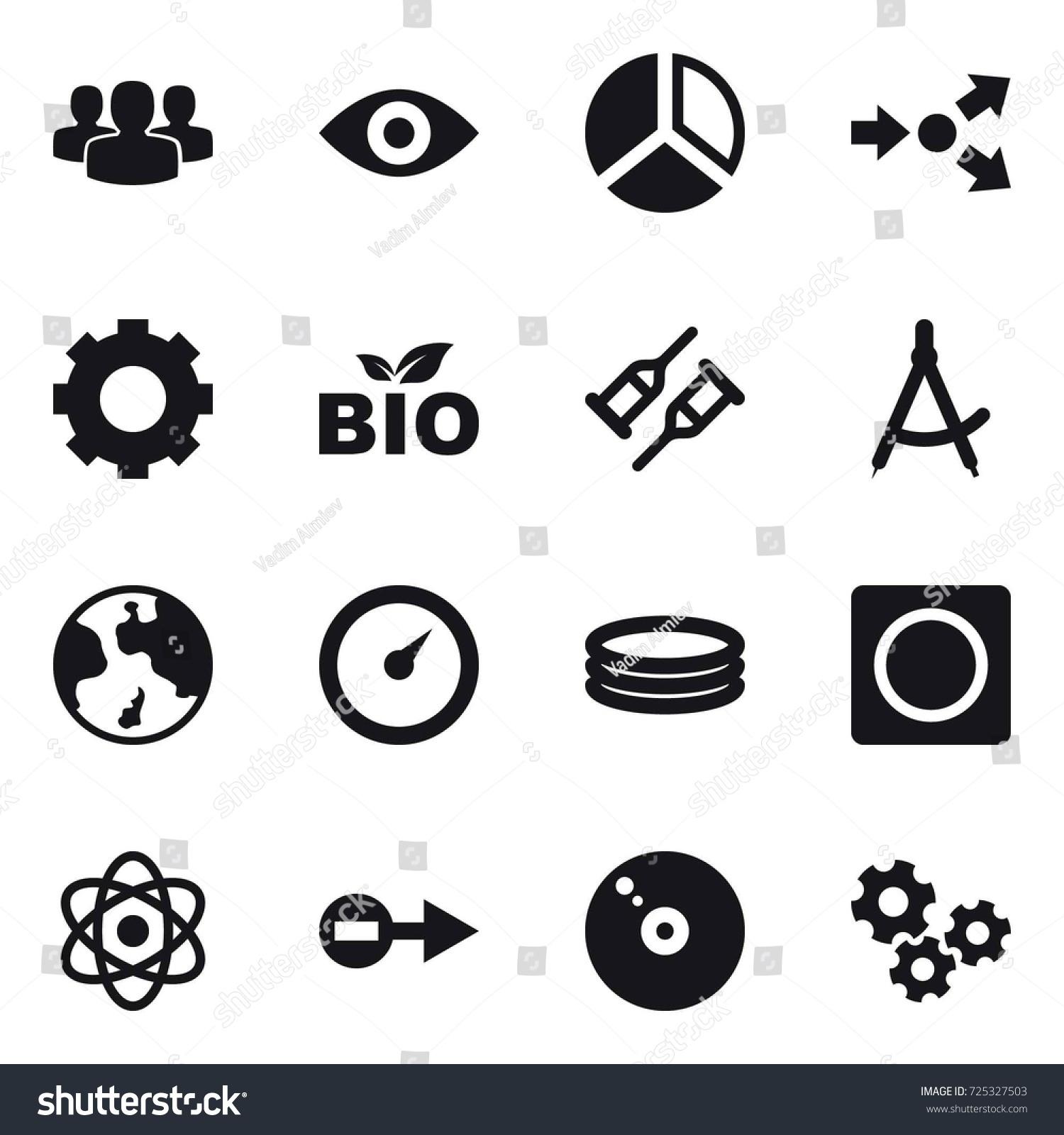 16 Vector Icon Set Group Eye Stock Royalty Free 725327503 Diagram Core Splitting Gear