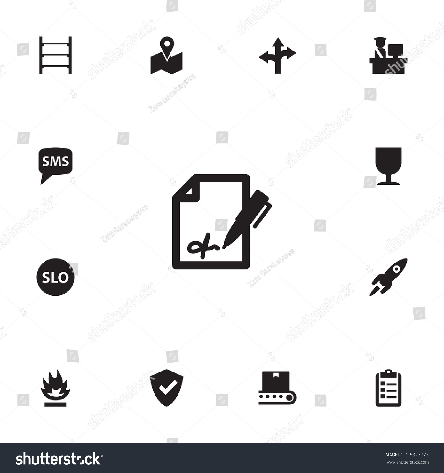Set 13 Systematization Icons Setcollection Rocket Stock Vector Hd