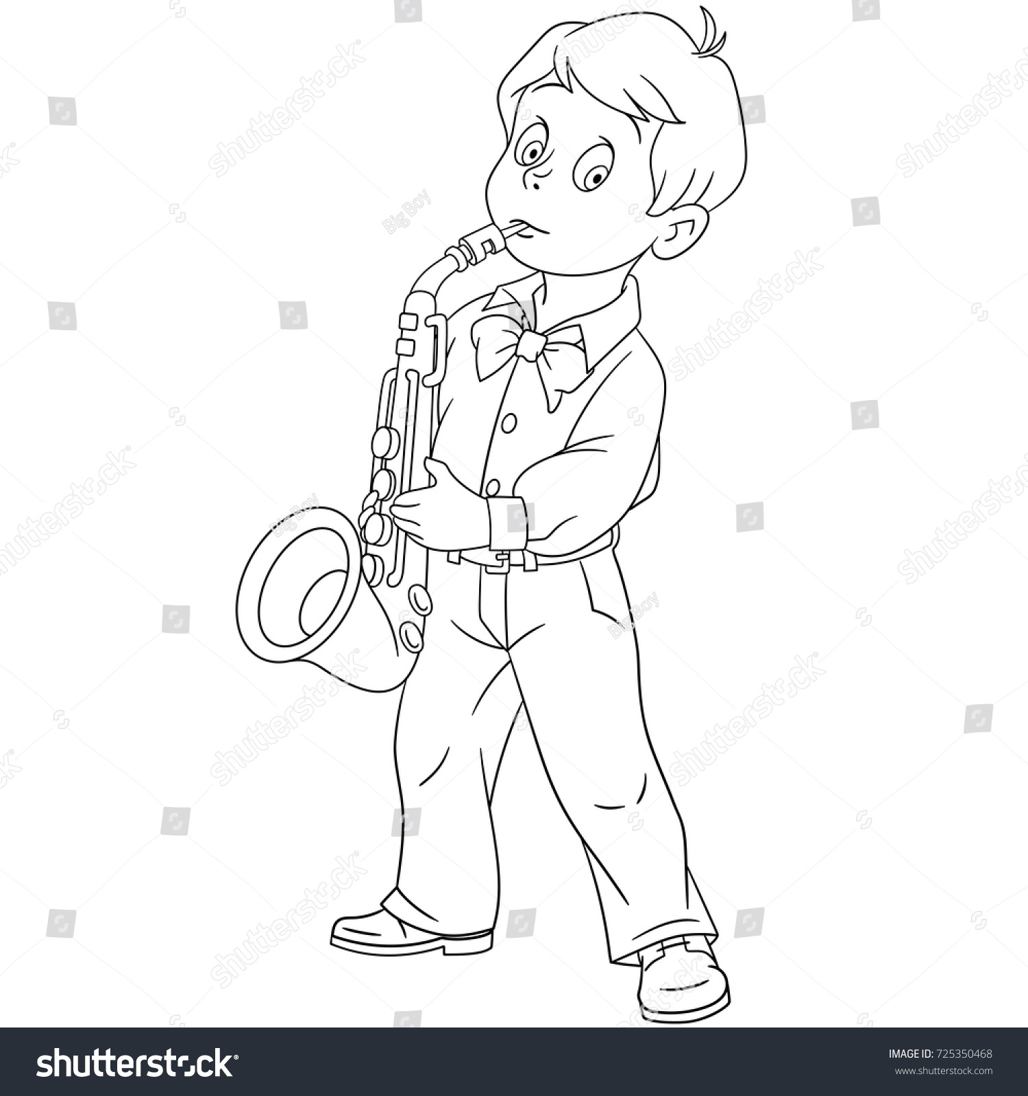 coloring page of cartoon boy playing saxophone music coloring book design for kids and children