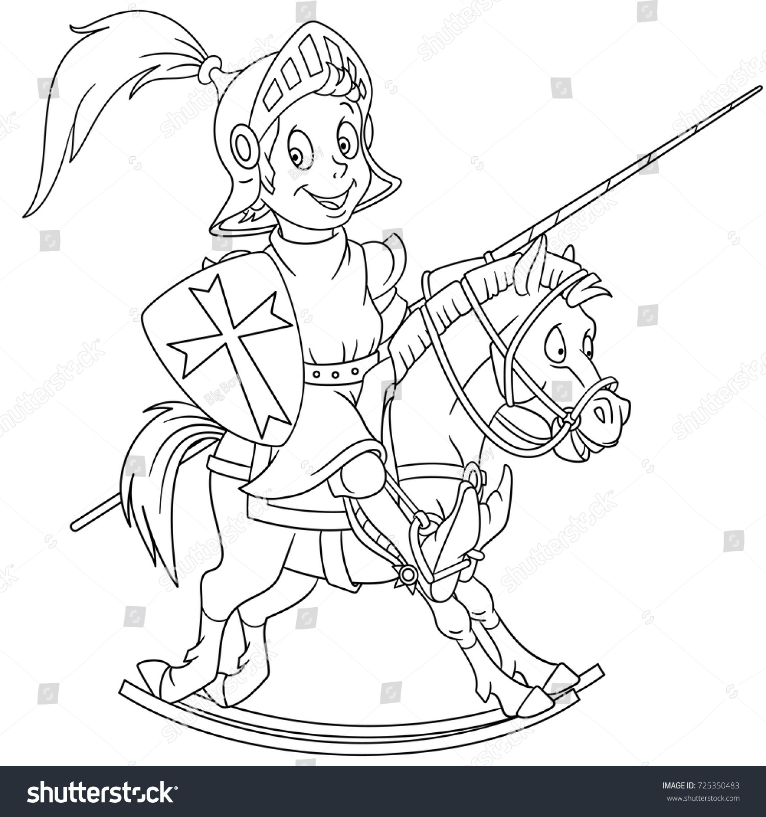 Coloring Page Cartoon Medieval Knight Riding Stock Vector 725350483 ...
