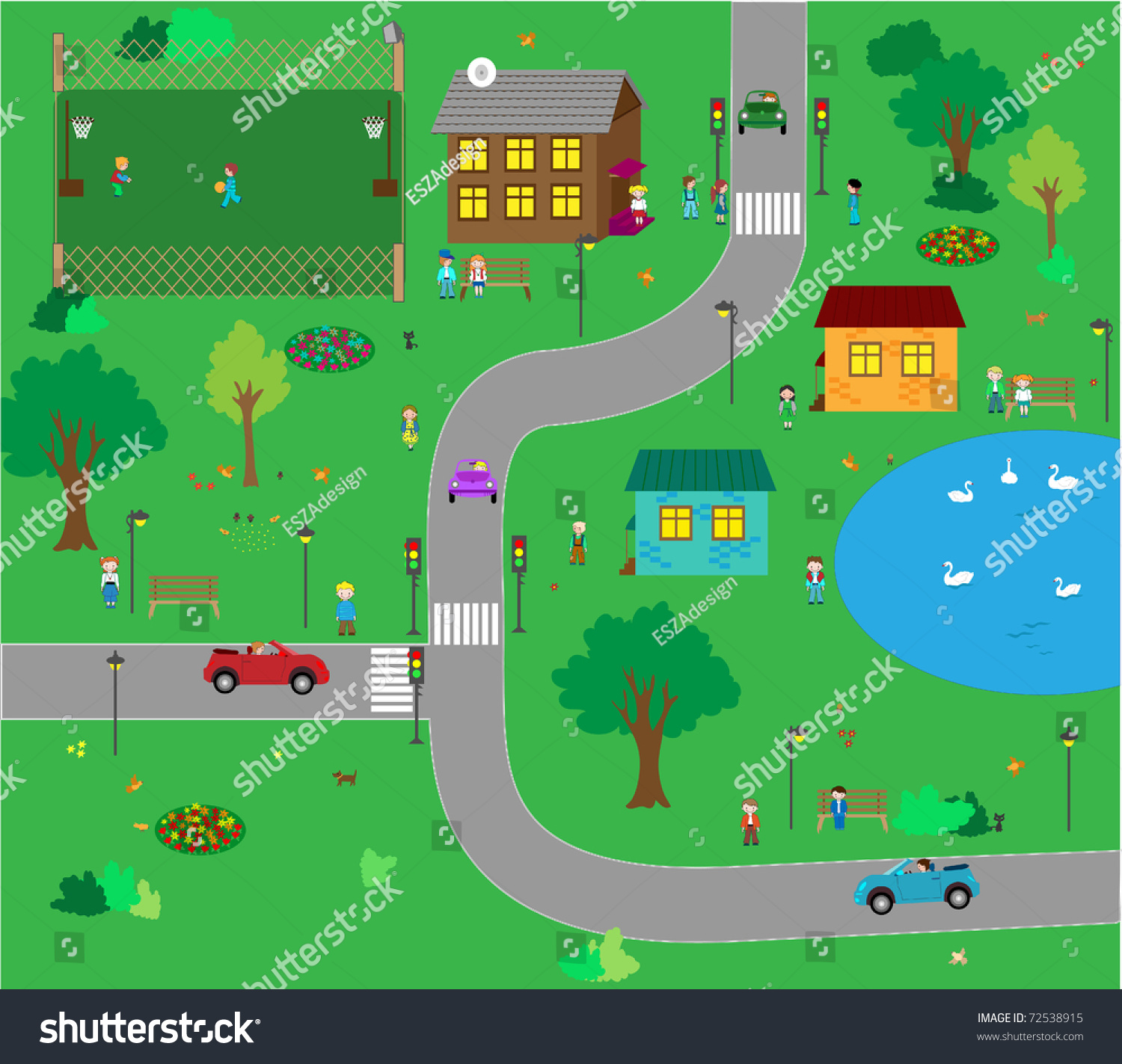 Kids Town Cartoon Stock Vector Shutterstock - Town map for kids
