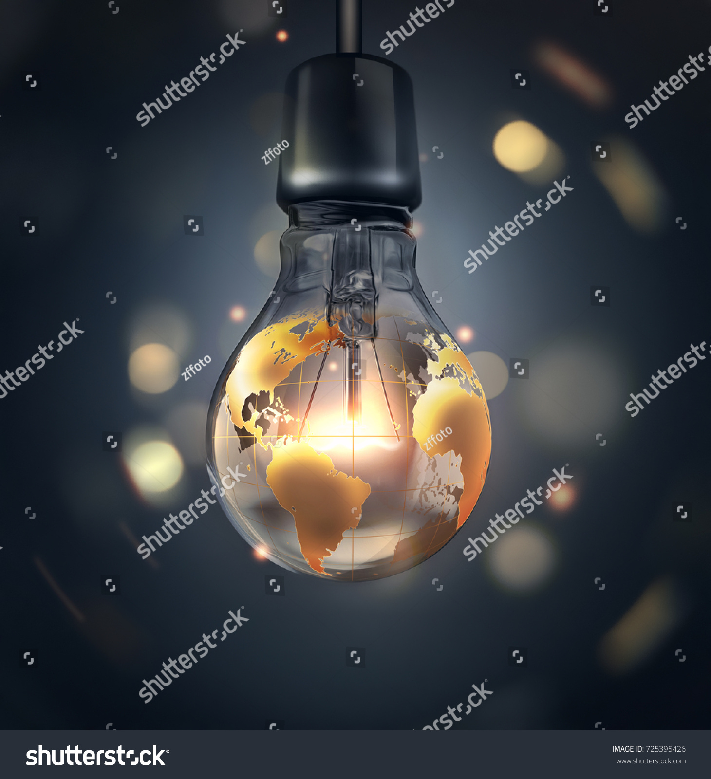 Glowing light bulb world map on stock illustration 725395426 glowing light bulb with a world map on a dark background a conceptual 3d image sciox Image collections