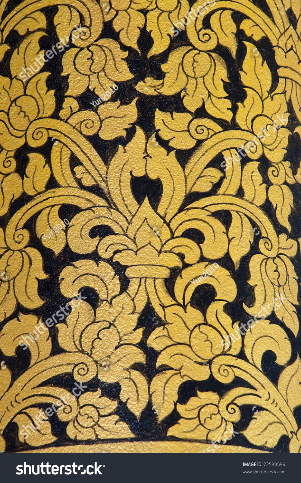 Thai Art Wall Pattern Temple Thailand Stock Photo (Royalty Free ...