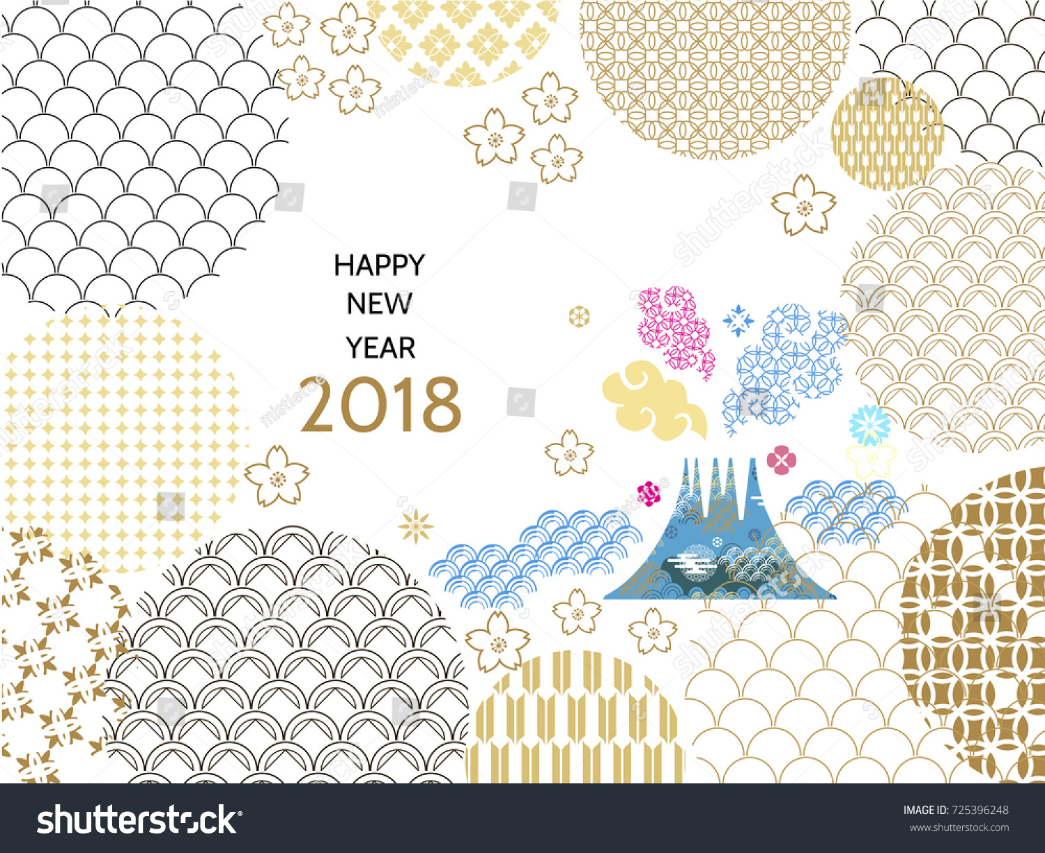 happy new year 2018 template greeting card in oriental style chinese japanese elements