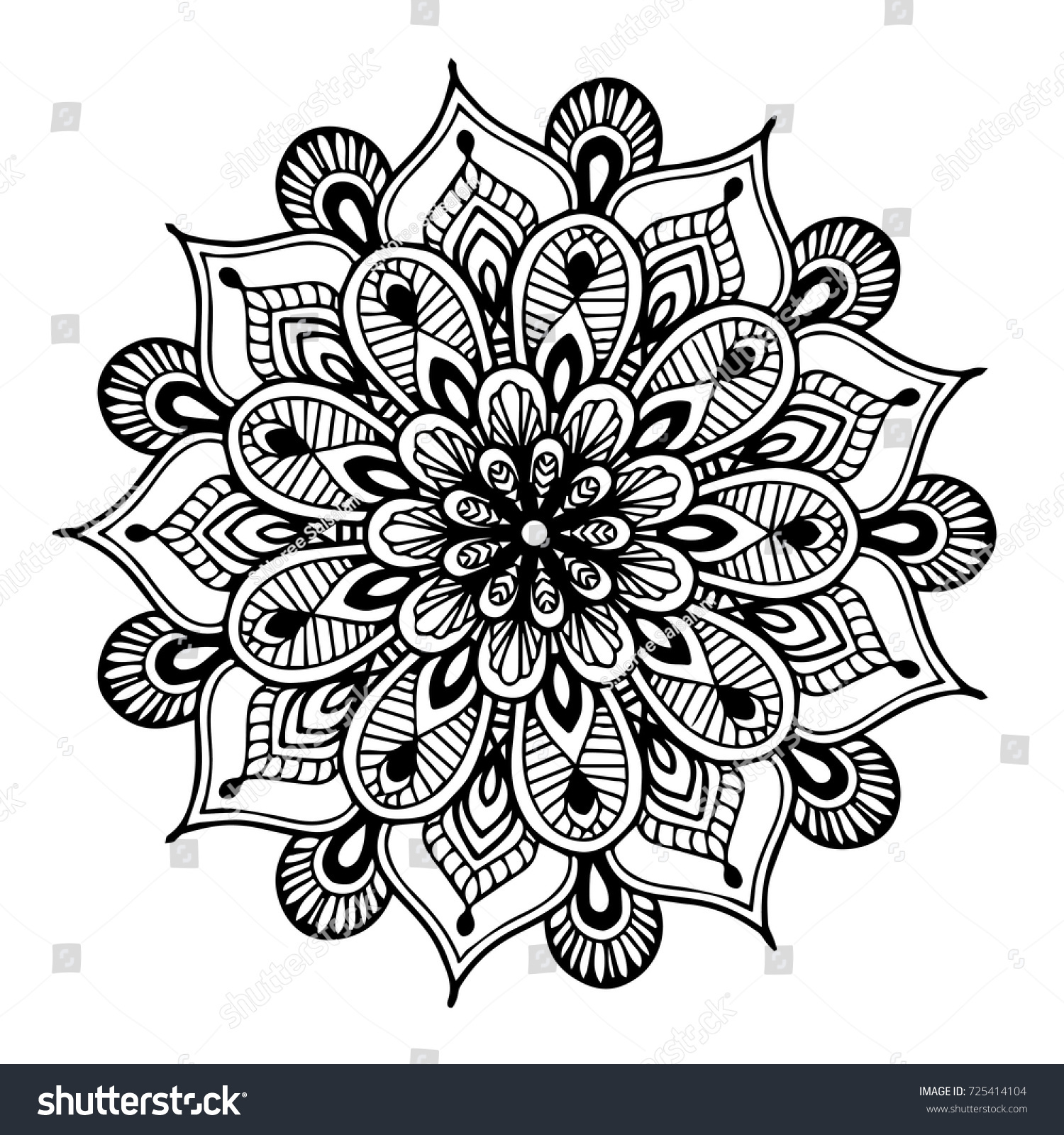 Mandala For Coloring Book Decorative Round Ornaments Unusual Flower Shape Oriental Vector