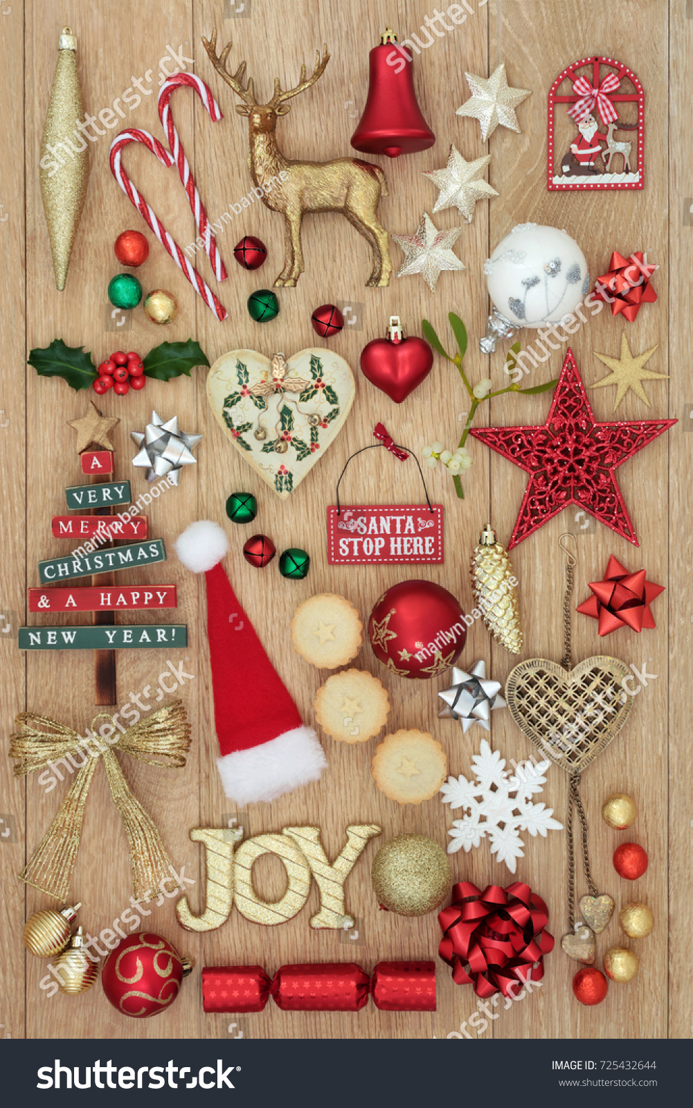 Christmas Decorations Gold Glitter Joy Sign Stock Photo (Edit Now ...