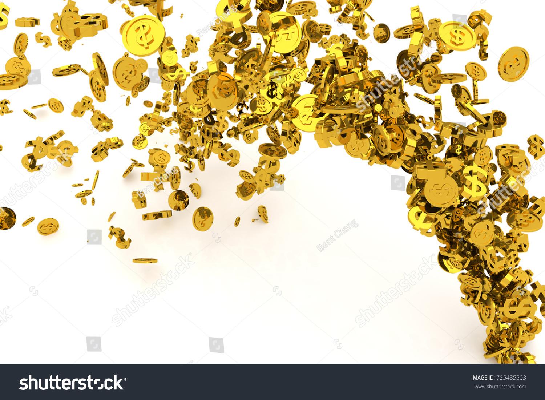Bunch Money Gold Dollar Sign Coins Stock Illustration 725435503
