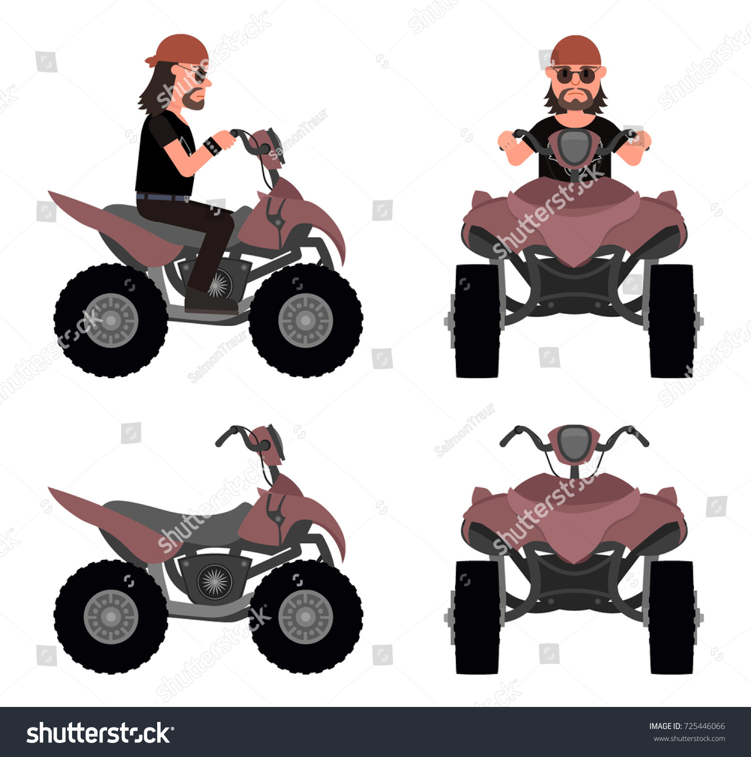 Man On Atv Side View Front Stock Vector Royalty Free 725446066