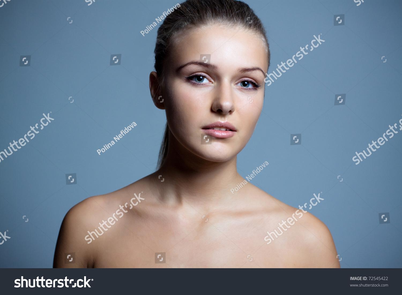 Happy Nude Brunette Looking Up Stock Image - Image of head