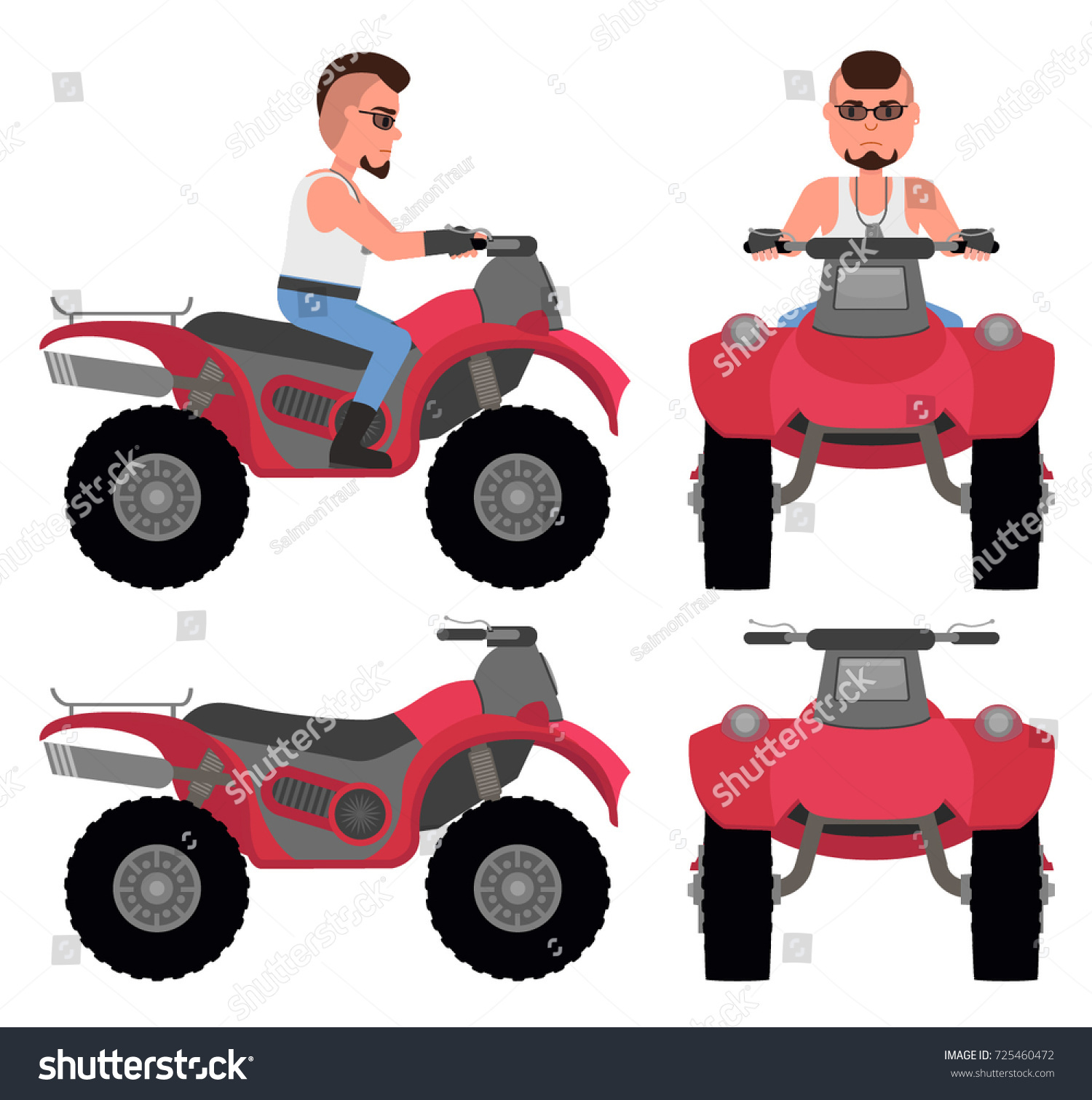 Man On Atv Side View Front Stock Vector Royalty Free 725460472