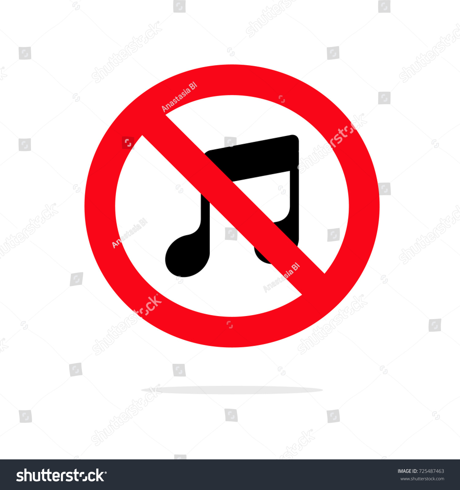 No Music Icon Loud Music Prohibited Stock Vector Royalty Free