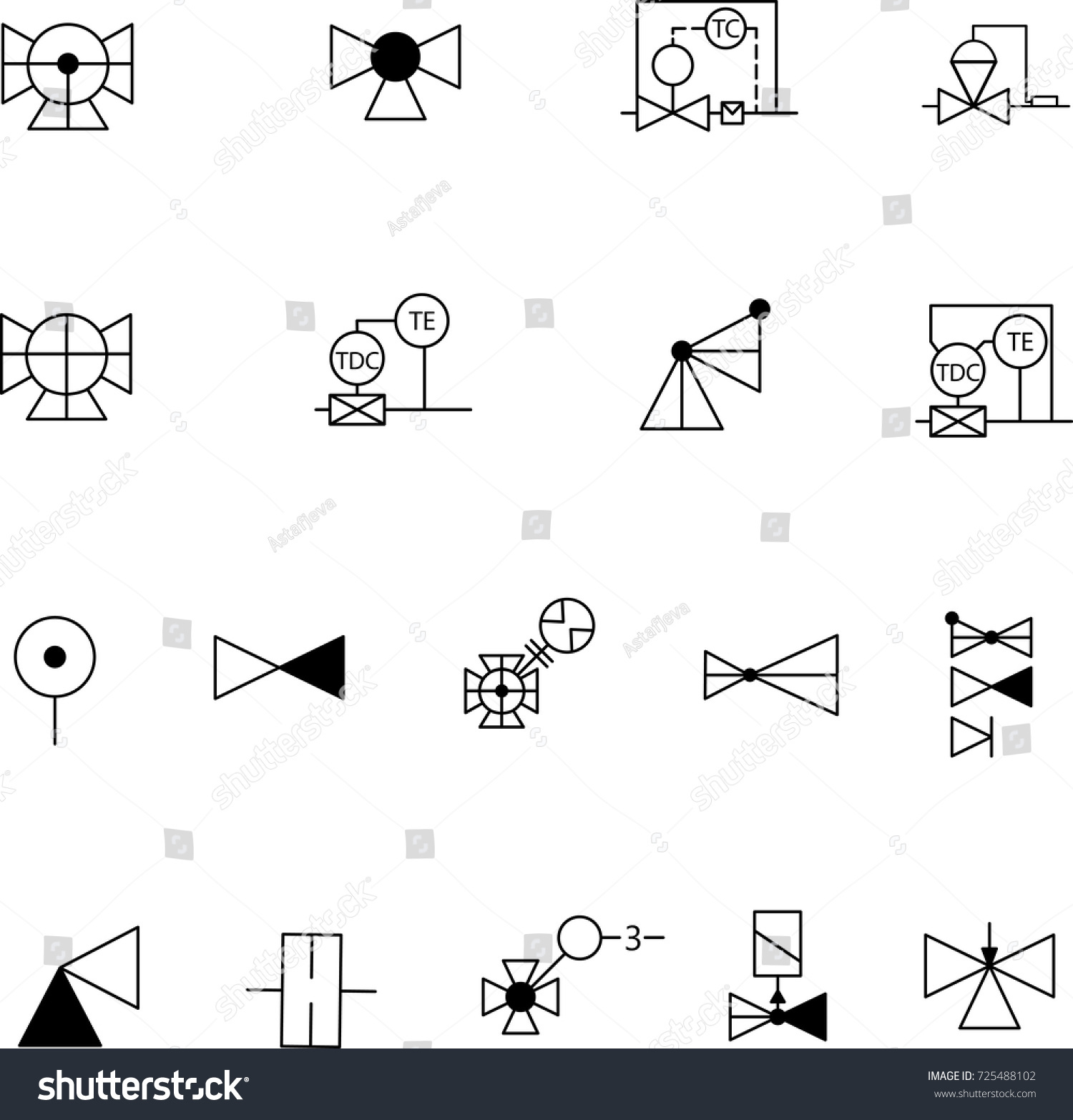 Simple Set Shutoff Control Valves Symbols Stock Vector Royalty Free