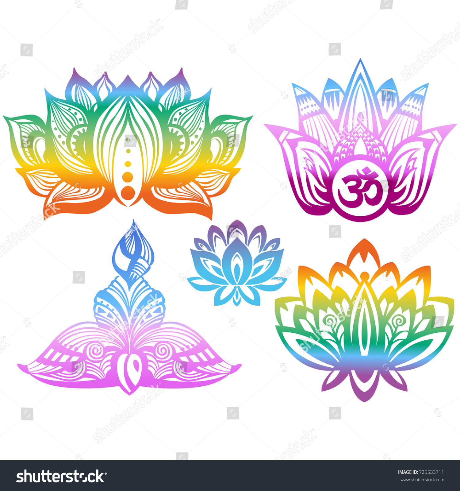 Ornamental color lotus flowers stock vector royalty free 725533711 ornamental color lotus flowers izmirmasajfo