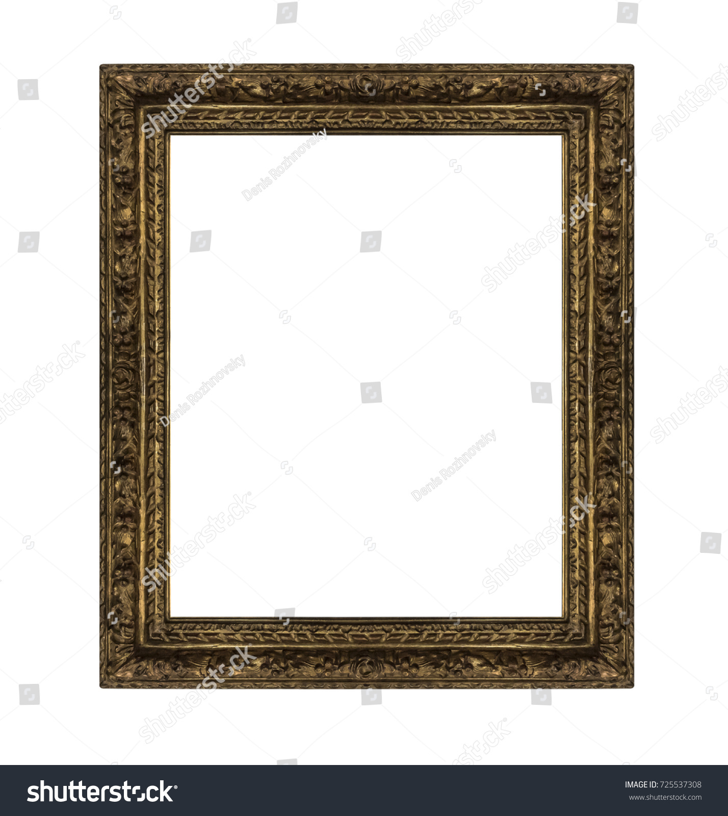 Very old picture frame isolated on white background. #725537308