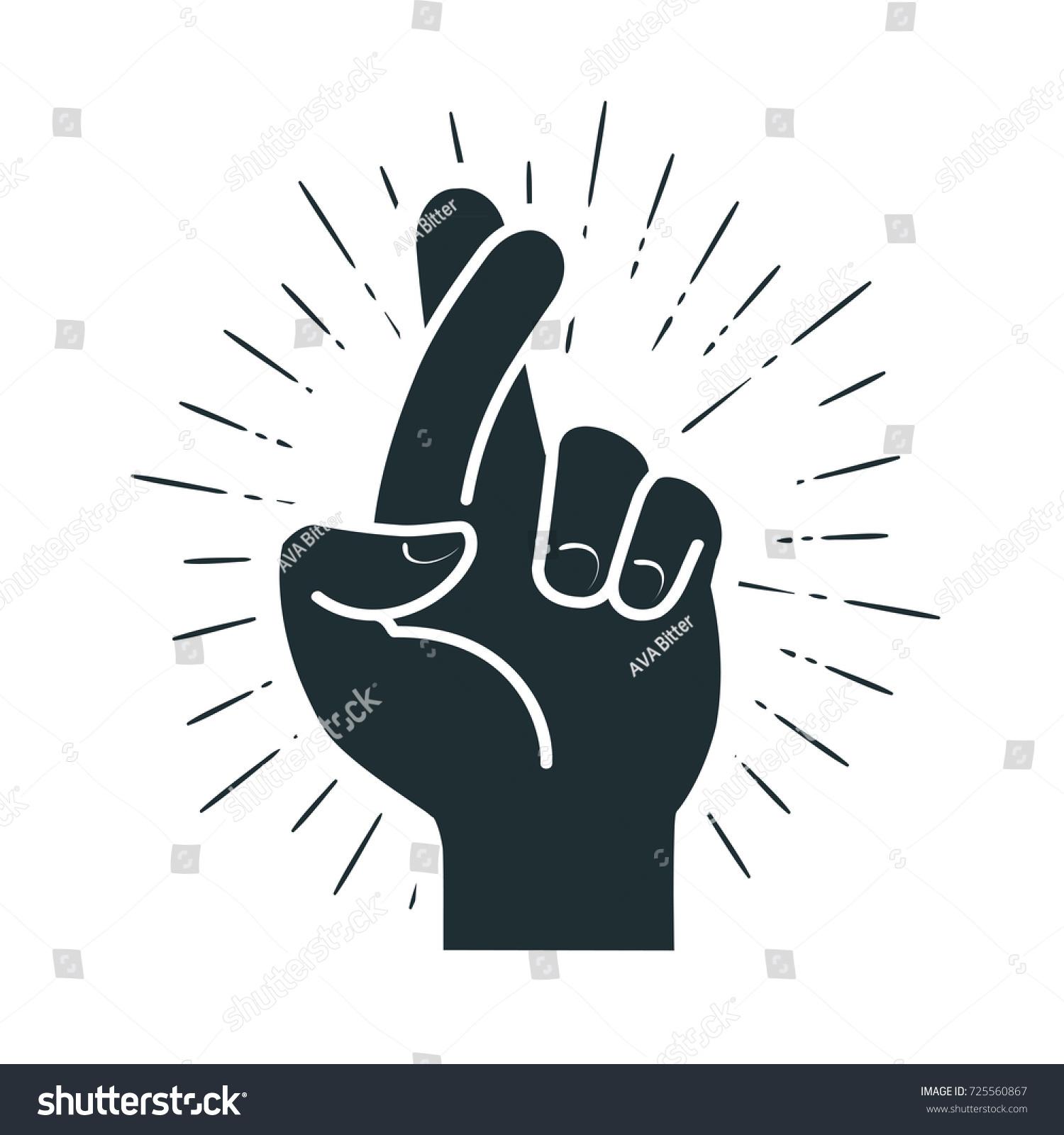 Fingers Crossed Hand Gesture Lie On Stock Vector Royalty Free