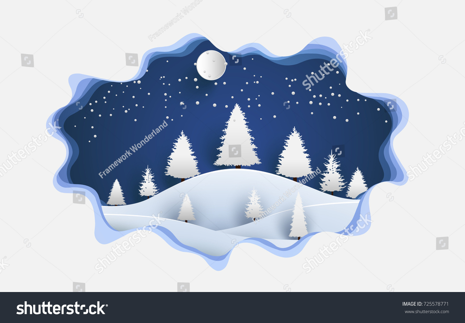 Art Paper Design Scenery Winter Snow 725578771