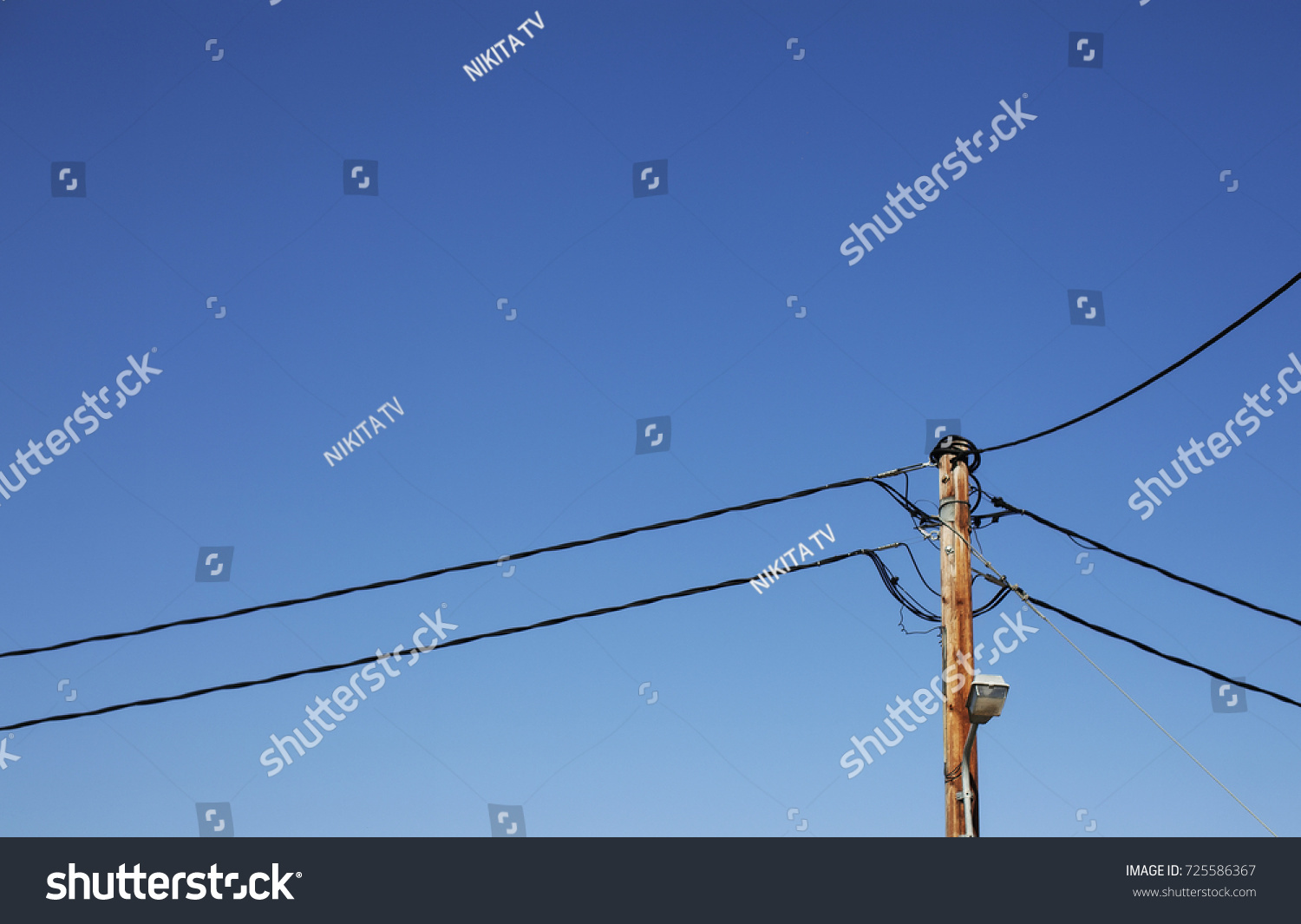 Electric Post Chaotic Wires Blue Sky Stock Photo Edit Now Wiring A Light Fixture Wire And With White Clouds
