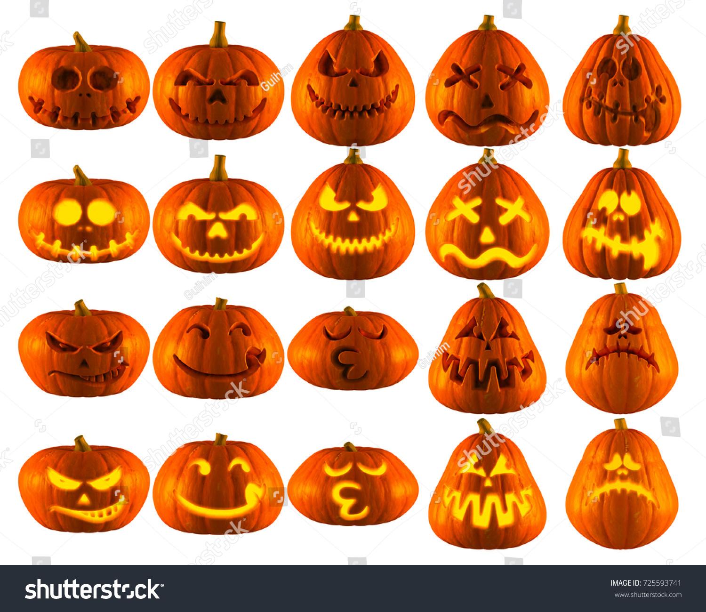 3 d illustration ten funny halloween pumpkin stock illustration