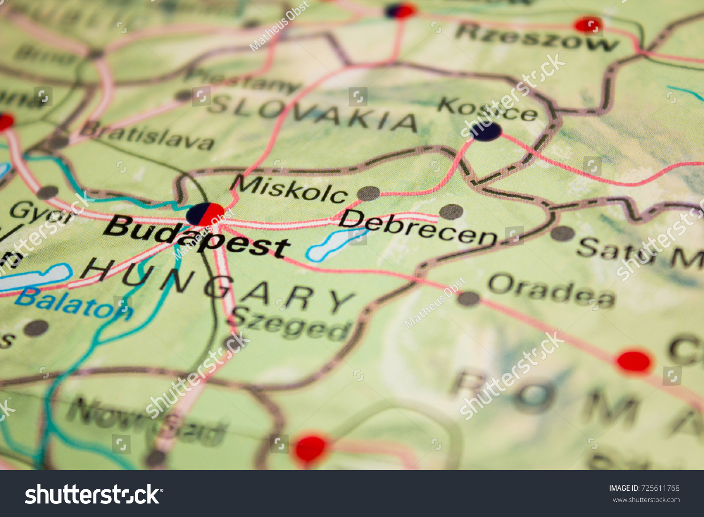 Map Budapest Hungary 2017 Stock Photo (Edit Now) 725611768 ...