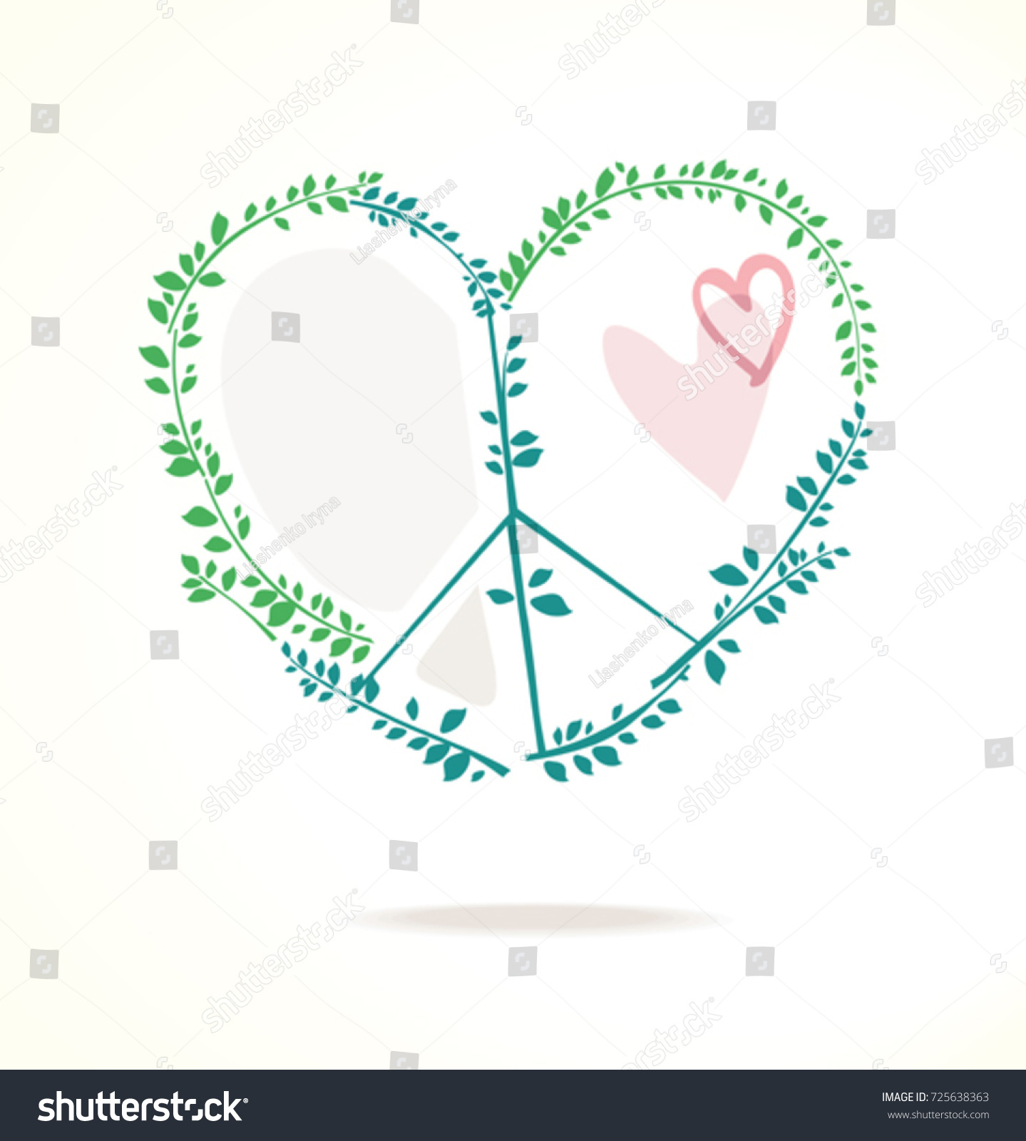 Vector icon combination peace symbol heart stock vector 725638363 vector icon of a combination of peace symbol with heart and green foliage biocorpaavc