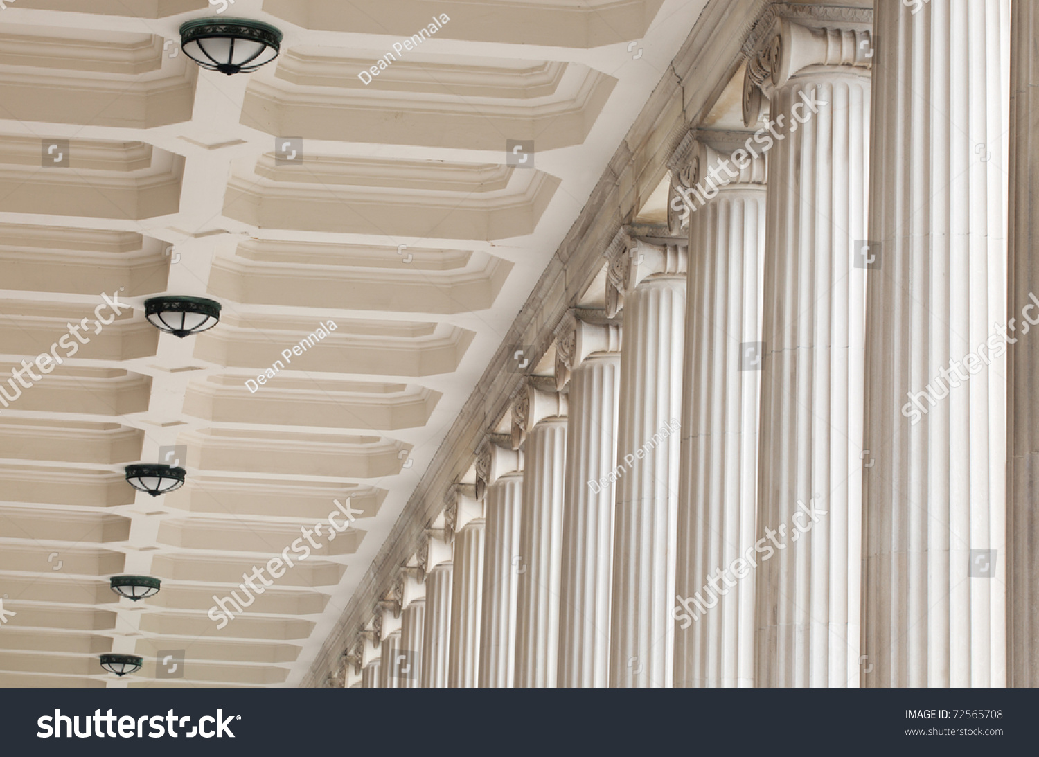 Classic Fluted Stone Architectural Columns Ceiling Stock Photo ...