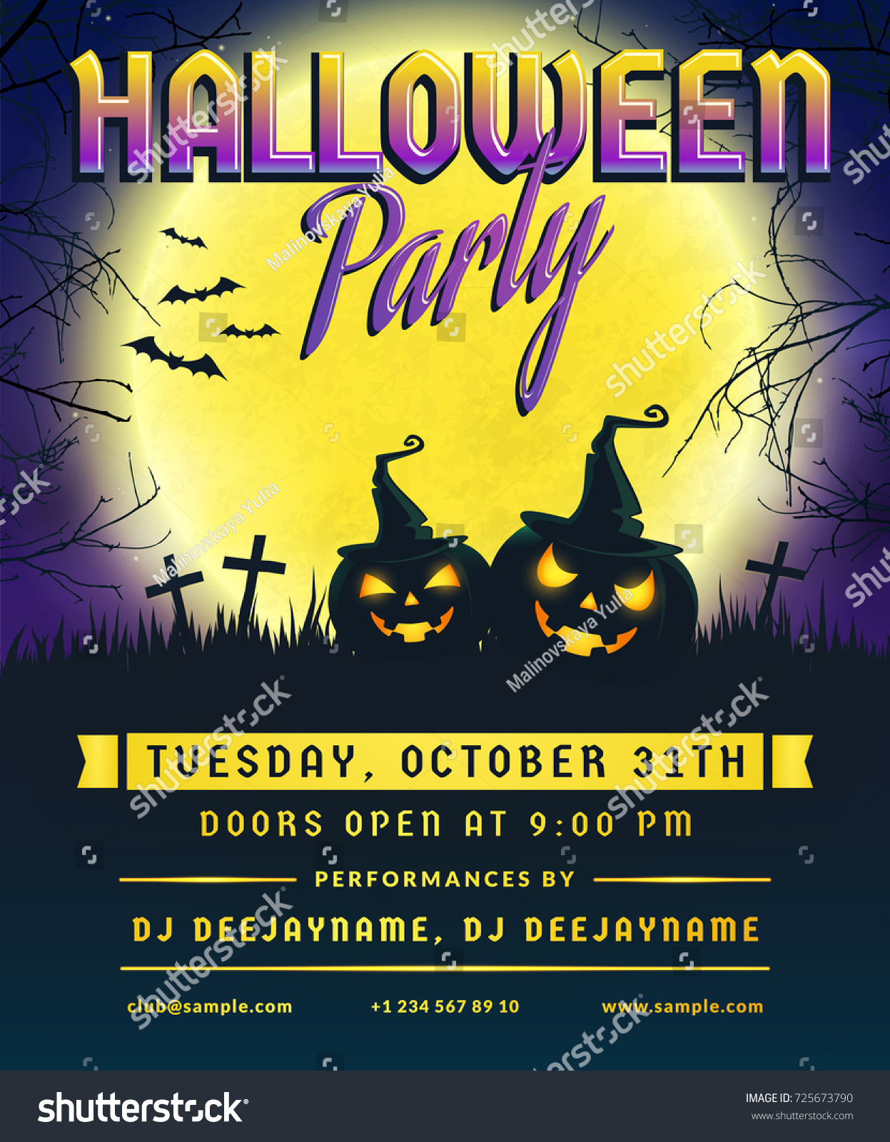 Halloween party invitation flyer template full stock vector halloween party invitation flyer template with full moon scary trees and evil pumpkins stopboris Choice Image