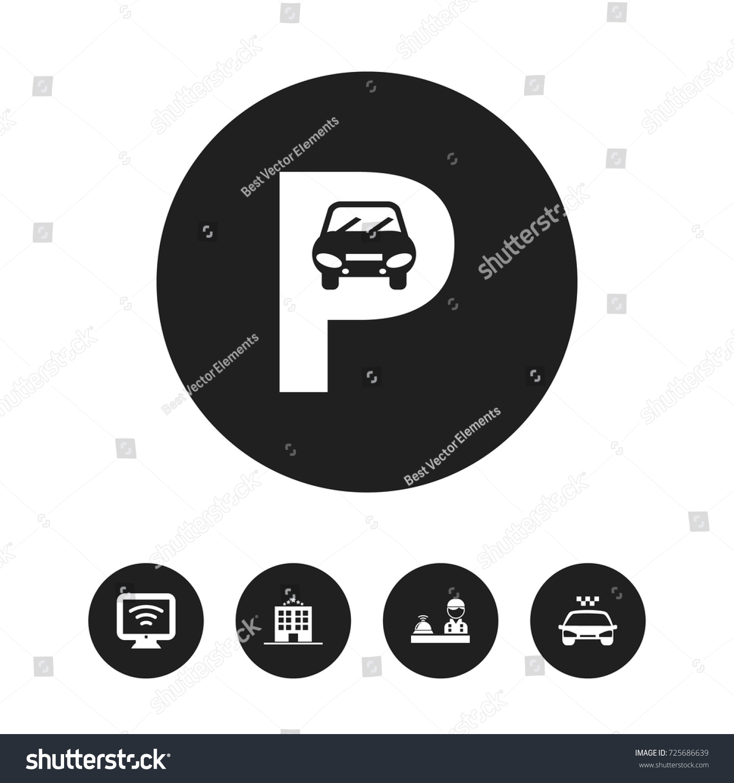 Set 5 editable motel icons includes stock vector 725686639 set of 5 editable motel icons includes symbols such as wireless tv parking buycottarizona
