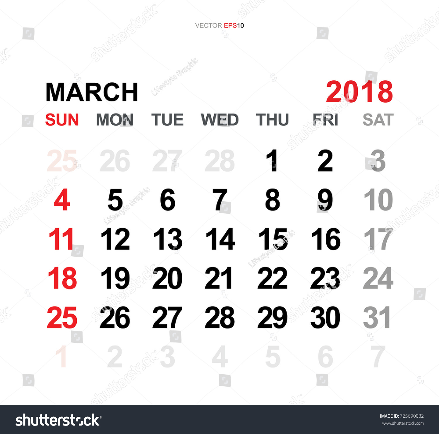 March 2018 Vector Monthly Calendar Template Stock Vector Royalty