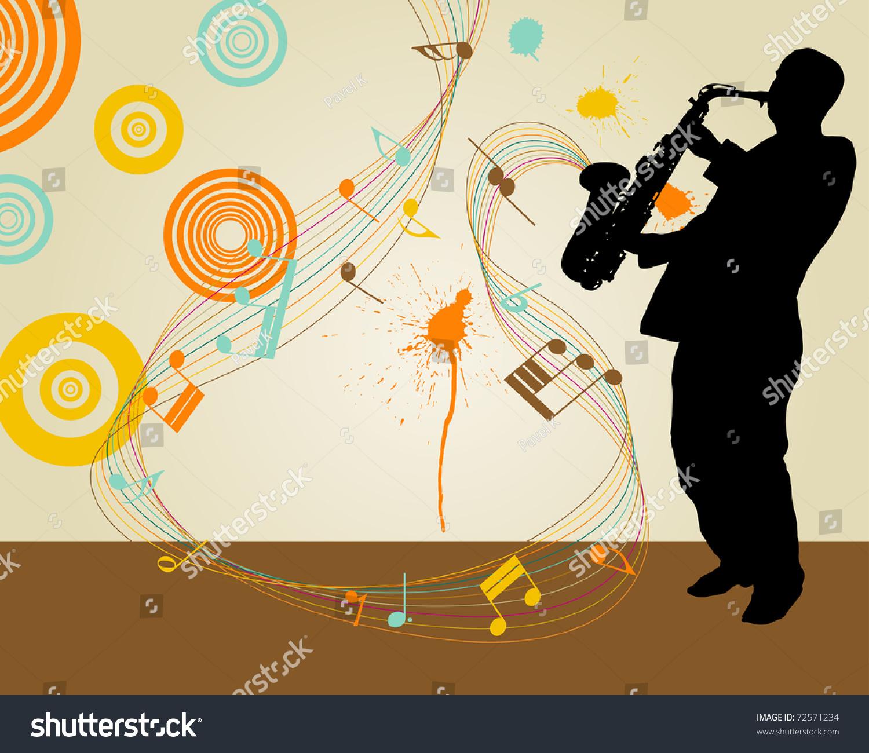 Jazz saxophonist retro theme  Vector illustration for design use. Jazz Saxophonist Retro Theme Vector Illustration Stock Vector