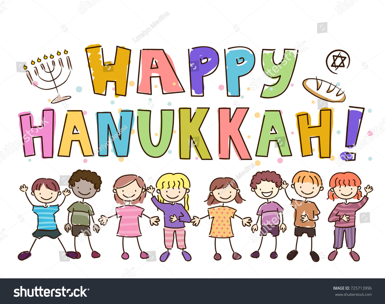 Illustration Stickman Kids Happy Hanukkah Greetings Stock ...