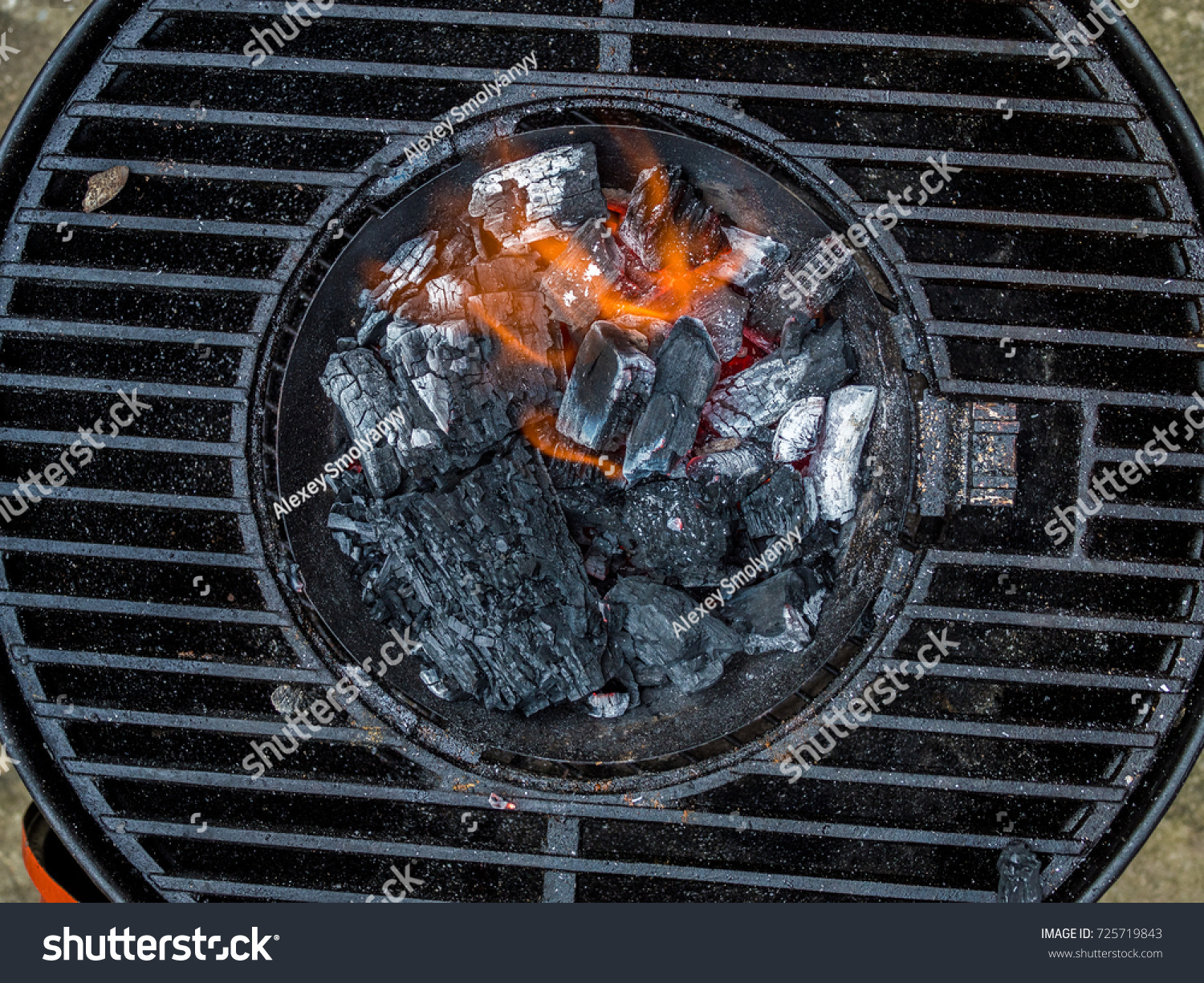 Starting Charcoal Grill Cook Stock Photo Edit Now 725719843
