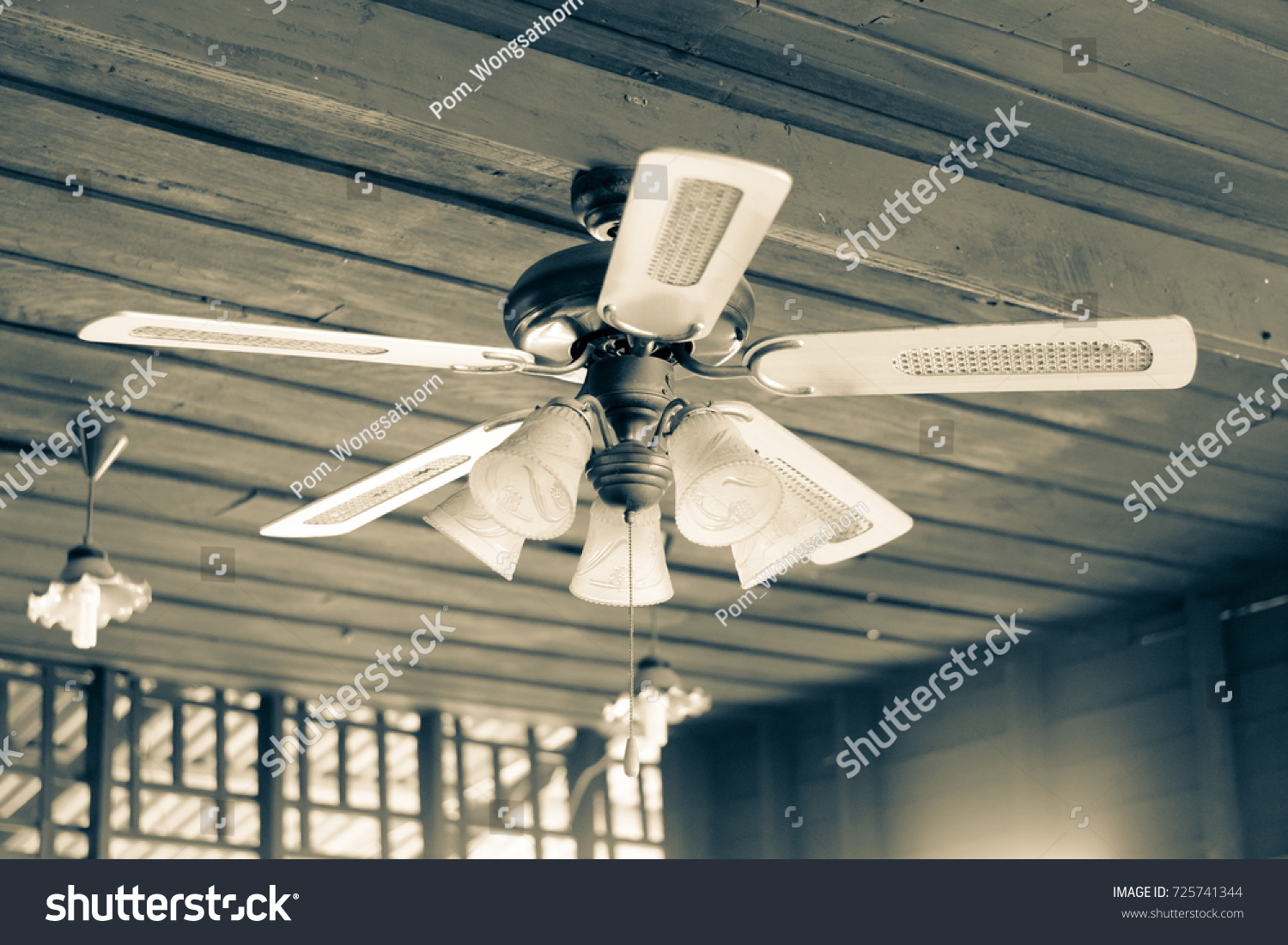 Vintage Style Old Ceiling Fan Lighting Stock Photo Edit Now 725741344