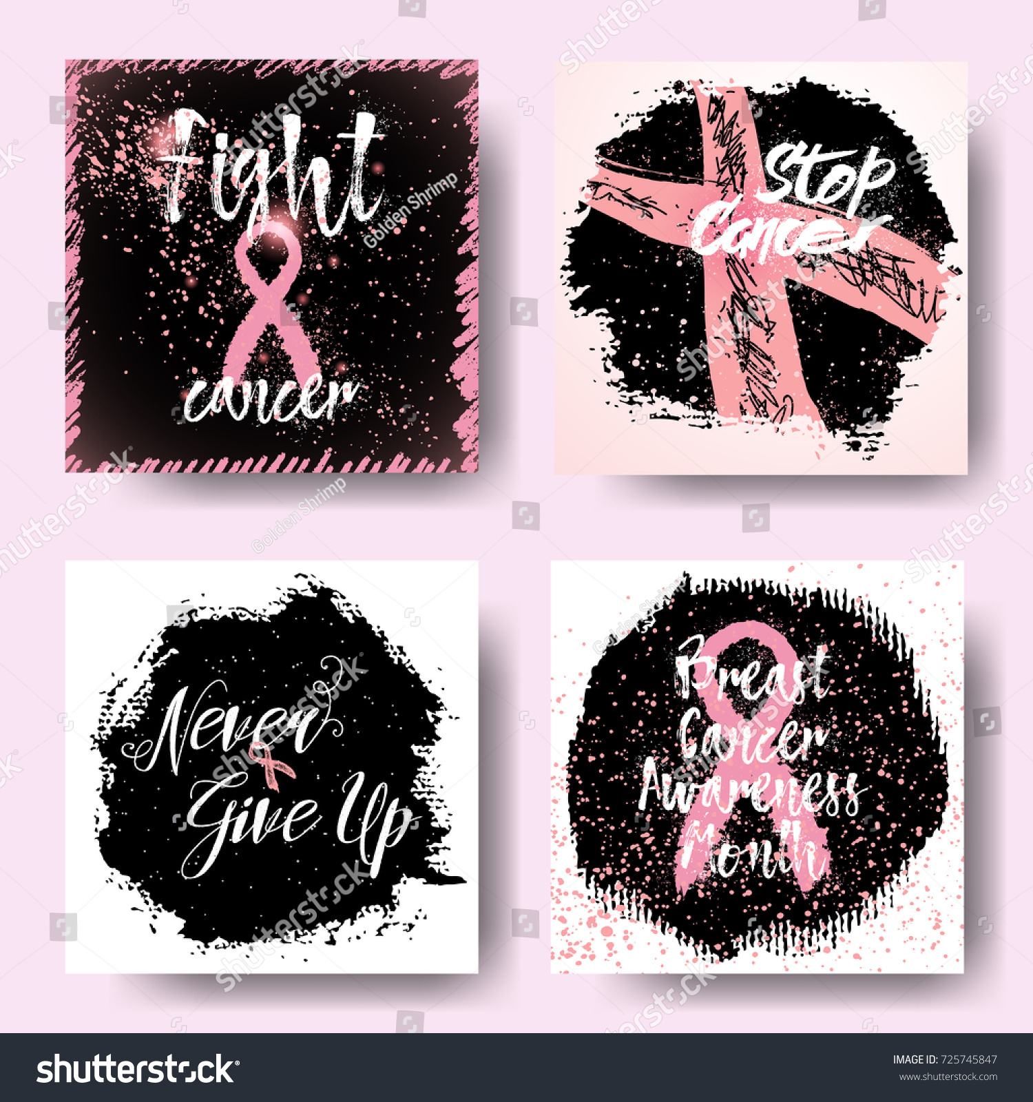 Breast Cancer Quotes Set October Breast Cancer Awareness Month Stock Vector 725745847