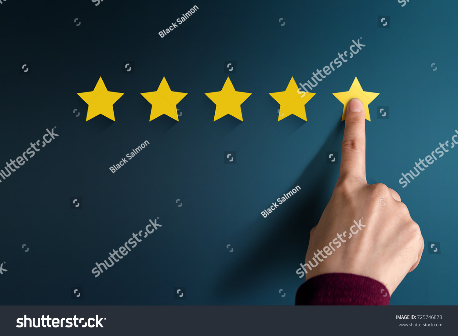Customer Experience Concept, Best Excellent Services Rating for Satisfaction present by Hand of Client pressing Five Star #725746873