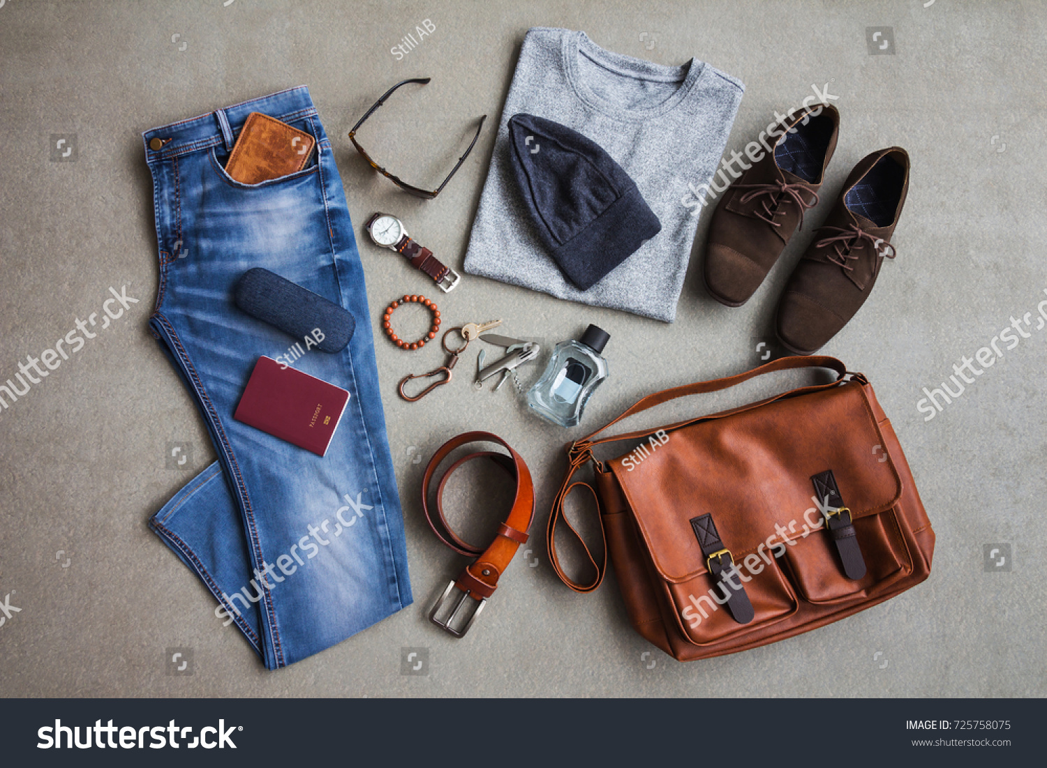 Mens Winter Clothing Style Casual Outfits Stock Photo (Edit