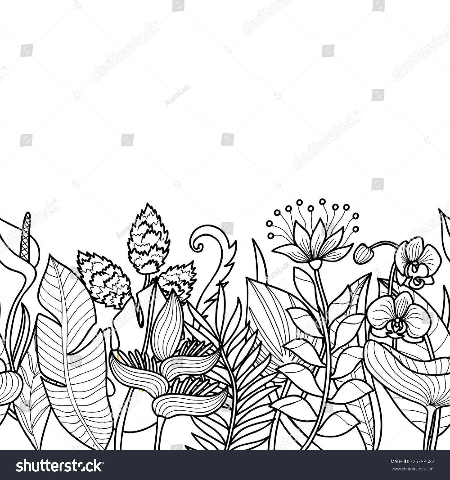 Tropical Flowers Plants Seamless Border Floral Stock Vector Royalty