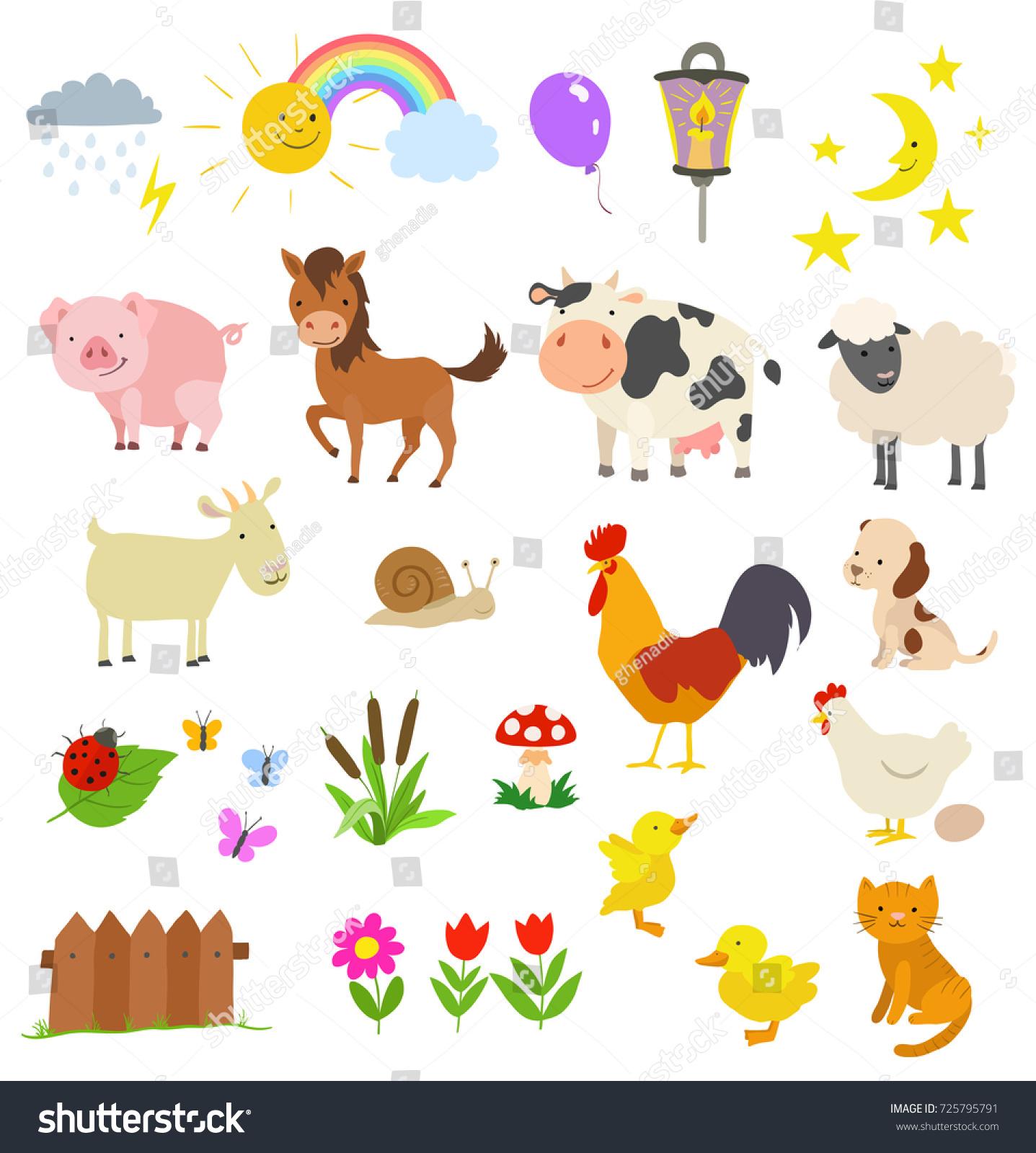 cartoon set farm animals isolated on stock vector 725795791