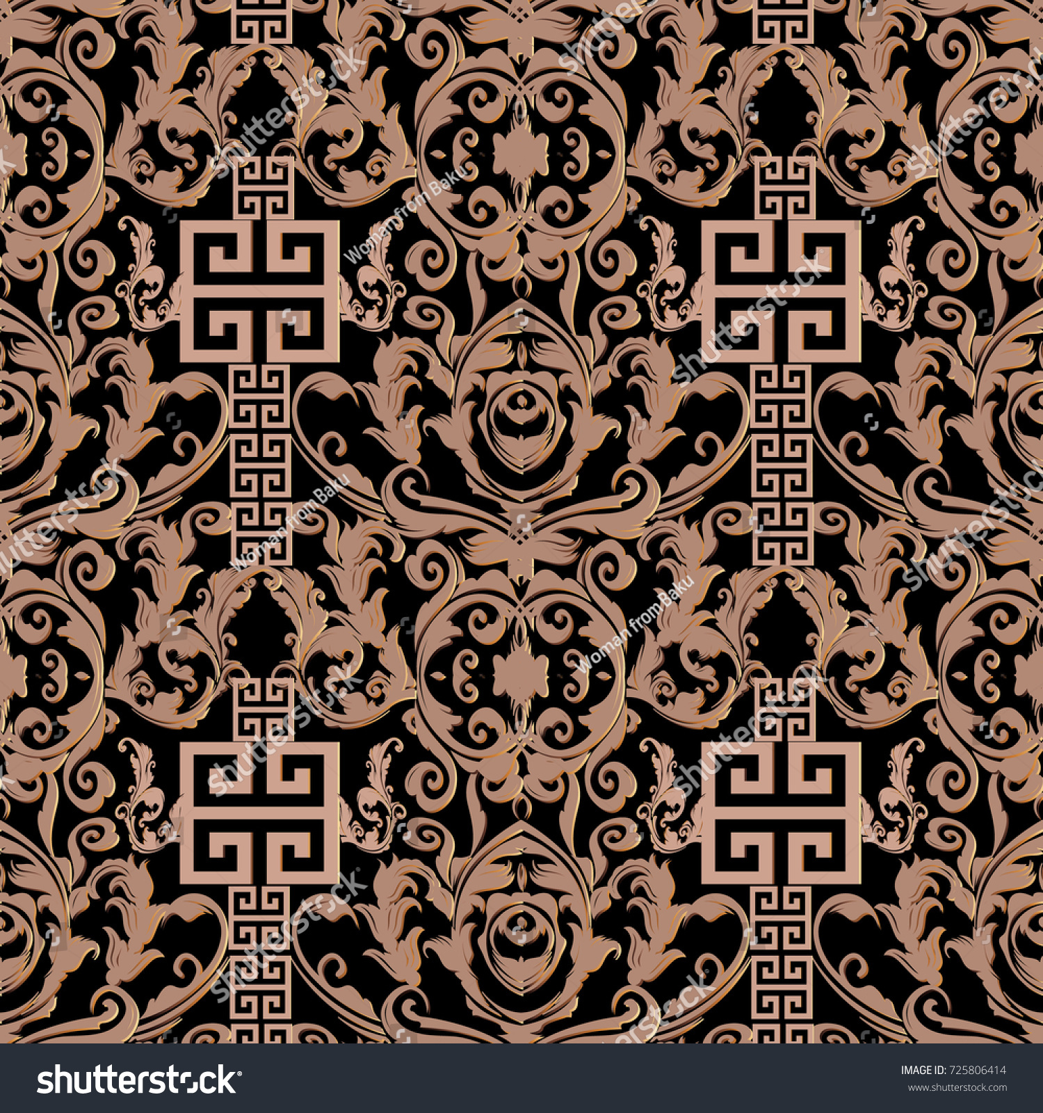 Baroque Seamless Pattern Damask Background Wallpaper Stock Vector