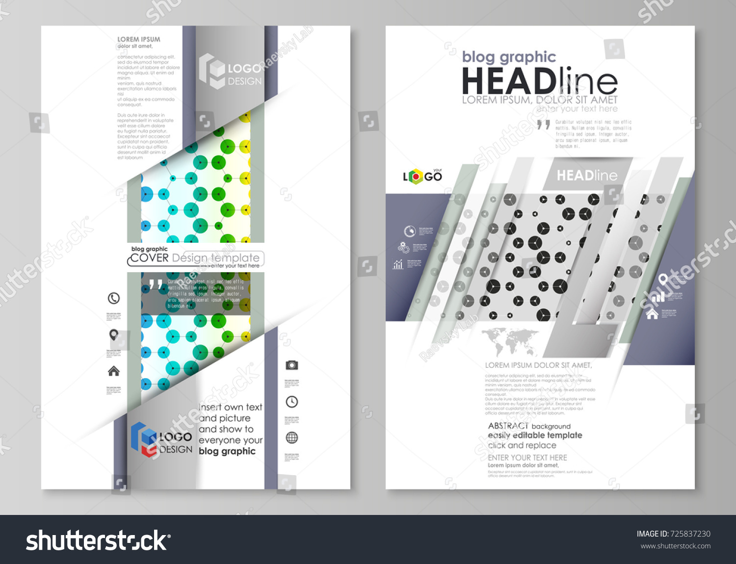 Blog Graphic Business Templates Page Website Stock Vector 725837230 ...