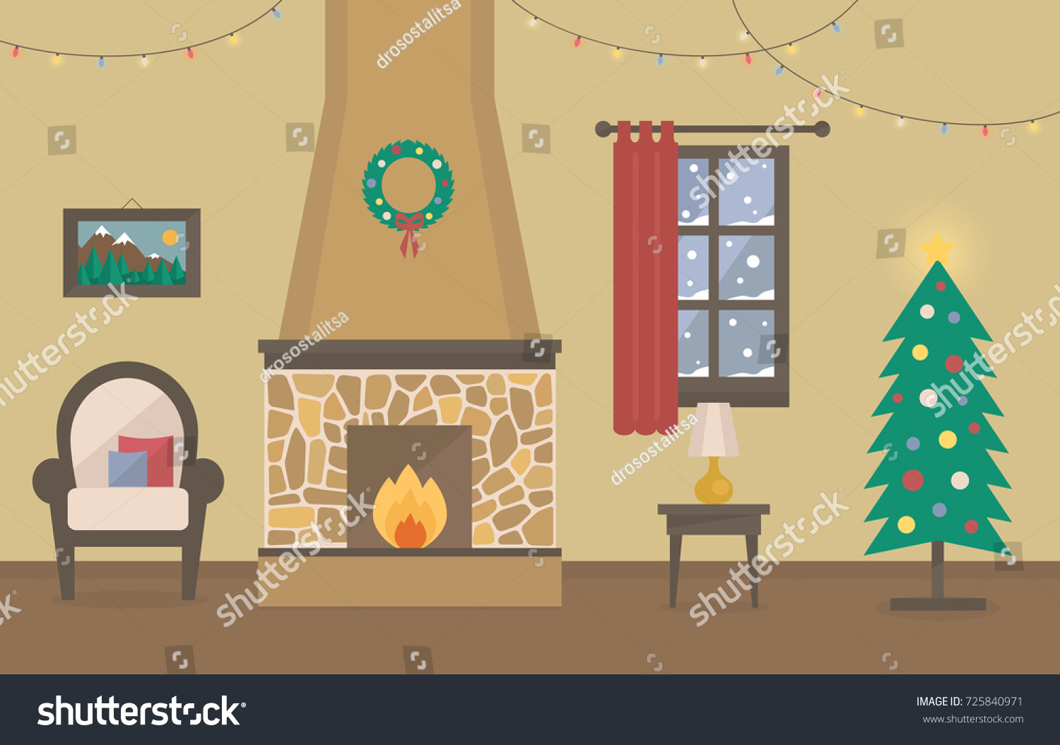 Winter Home Interior Background Christmas Room Stock Vector Royalty Free 725840971