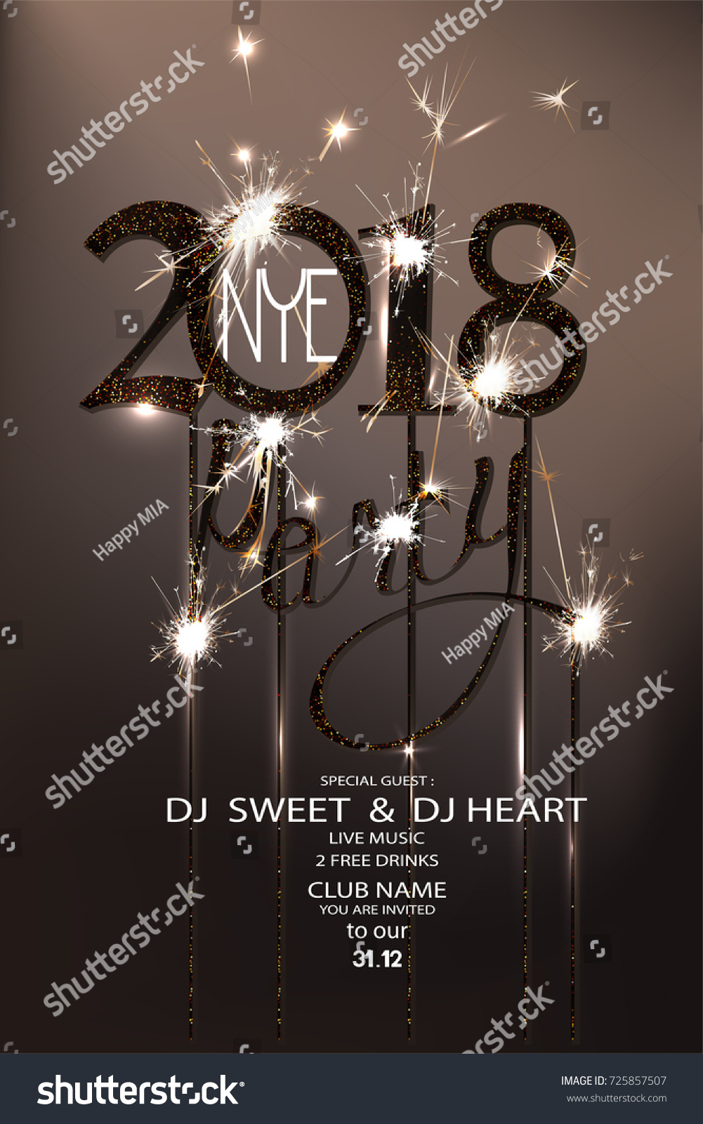 new year eve 2018 party invitation card with sparklers and serpentine vector illustration