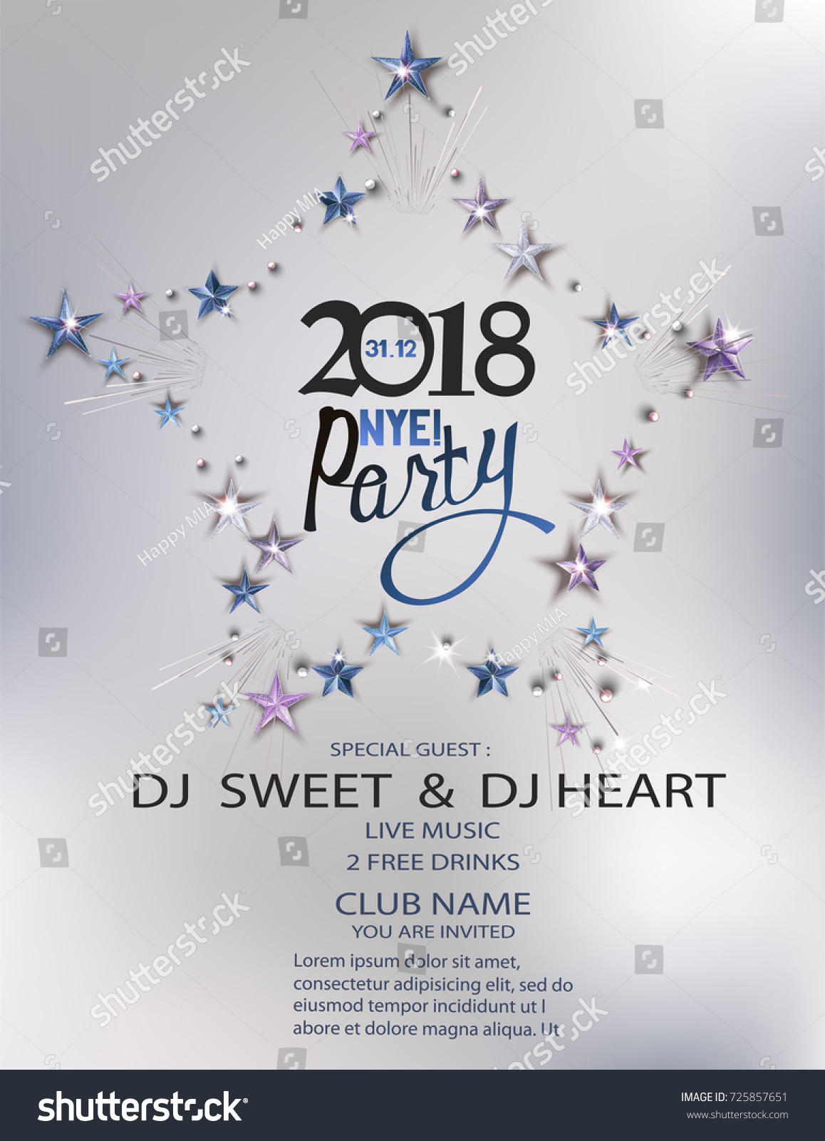 new year eve party invitation card with stars arranged in shape of star vector illustration