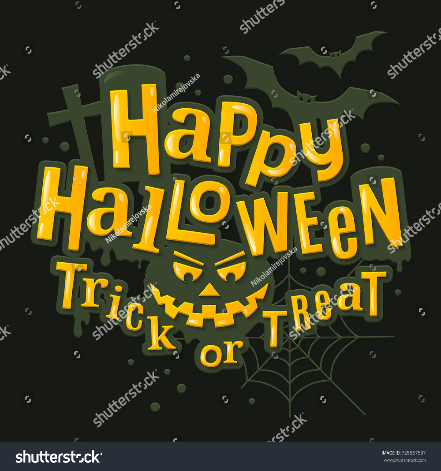 happy halloween stylish lettering with scary pumpkin face bats spiderweb and tombstone on background