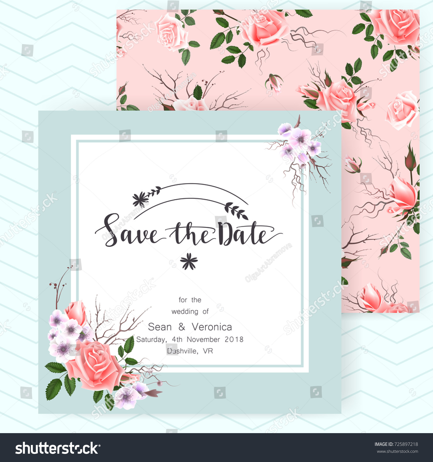 Save Date Card Wedding Invitation Greeting Stock Vector Royalty